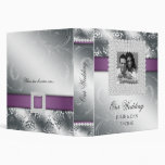Silver Wedding Jewels Purple Silver Photo 3 Ring Binder