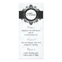 silver wedding menu card