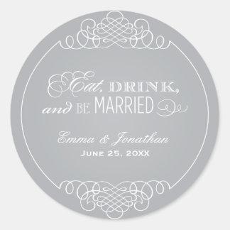 Silver Wedding Monogram | Eat Drink & Be Married Classic Round Sticker
