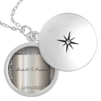 Silver Wedding Necklace Change The Text Pendant