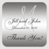 Silver Wedding Personalized Thank You Square Label
