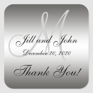 Silver Wedding Personalized Thank You Square Label Square Sticker