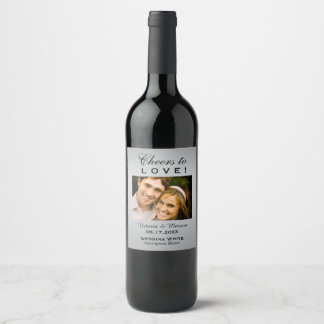 Silver Wedding Photo Wine Bottle Favor Wine Label