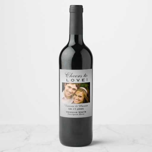 Silver Wedding Photo Wine Bottle Favor Wine Label