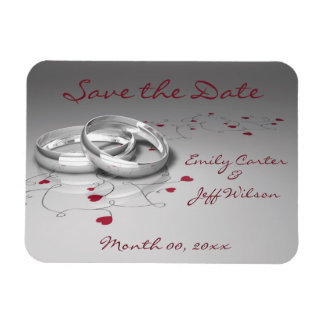 Silver Wedding Ring Save the Date Magnets