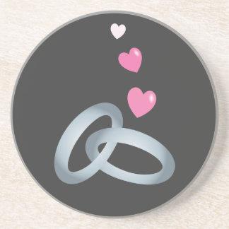 Silver wedding rings marriage drink coaster