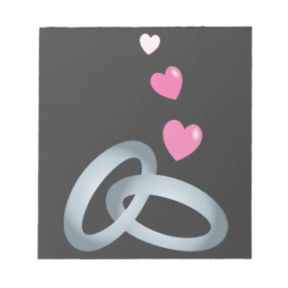 Silver wedding rings marriage notepad
