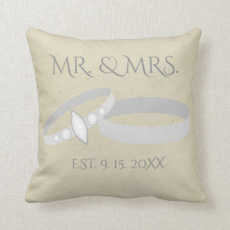 Silver Wedding Rings | Mr. & Mrs. | Save the Date Throw Pillow