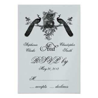Vintage Peacock Wedding Invitations | Gray Black Monogram