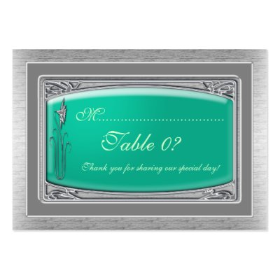 Silver wedding table number placement card business card templates by