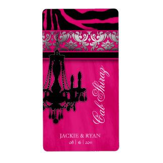 Silver Wedding Wine Label Chandelier Zebra Pink