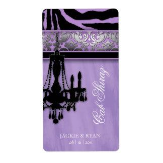 Silver Wedding Wine Label Chandelier Zebra Purple