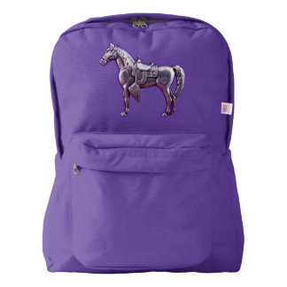 SILVER WESTERN HORSE Backpack Purple