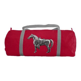 SILVER WESTERN HORSE Custom Duffle Gym Bag