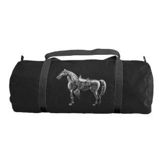 SILVER WESTERN HORSE Custom Duffle Gym Bag Black