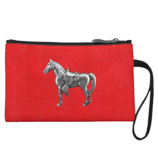 SILVER WESTERN HORSE Red Leather Print Wristlet Wallet