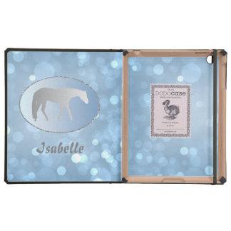 Silver Western Pleasure Horse on Blue Brokeh
