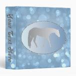 Silver Western Pleasure Horse on Blue Brokeh Vinyl Binder