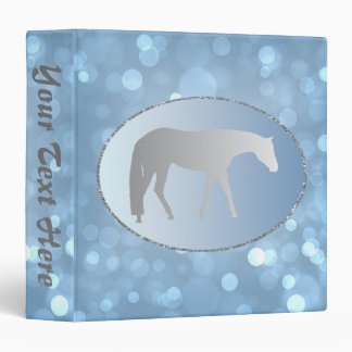 Silver Western Pleasure Horse on Blue Brokeh Vinyl Binder