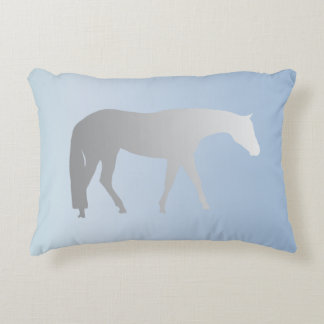 Silver Western Pleasure Horse on Blue Brokeh Decorative Pillow