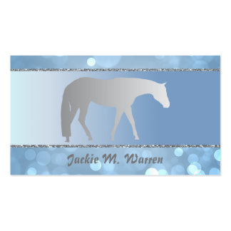 Silver Western Pleasure Horse on Blue Brokeh Double-Sided Standard Business Cards (Pack Of 100)