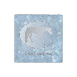 Silver Western Pleasure Horse on Blue Brokeh Stone Magnet