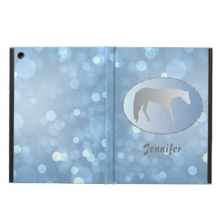 Silver Western Pleasure Horse on Blue Brokeh iPad Air Cover
