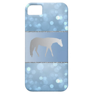 Silver Western Pleasure Horse on Blue Brokeh iPhone 5 Cases