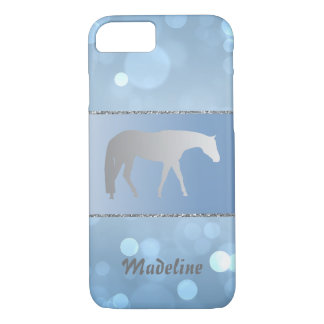 Silver Western Pleasure Horse on Blue Brokeh iPhone 7 Case