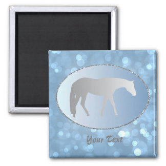 Silver Western Pleasure Horse on Blue Brokeh Magnets