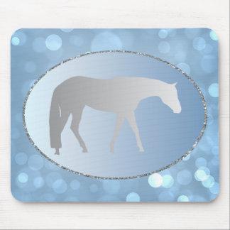 Silver Western Pleasure Horse on Blue Brokeh Mouse Pad