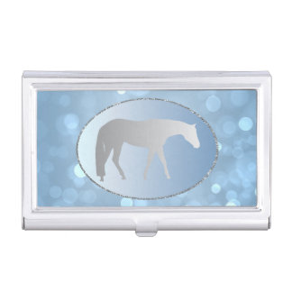 Silver Western Pleasure Horse on Blue Brokeh Business Card Holder