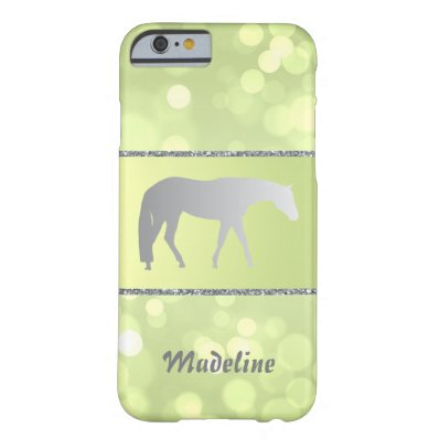 Silver Western Pleasure Horse on Green Brokeh Barely There iPhone 6 Case