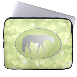 Silver Western Pleasure Horse on Green Brokeh Computer Sleeve