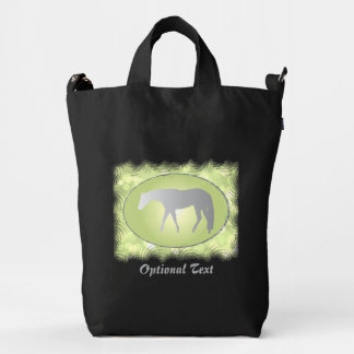 Silver Western Pleasure Horse on Green Brokeh Duck Bag