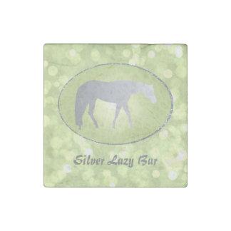 Silver Western Pleasure Horse on Green Brokeh Stone Magnet