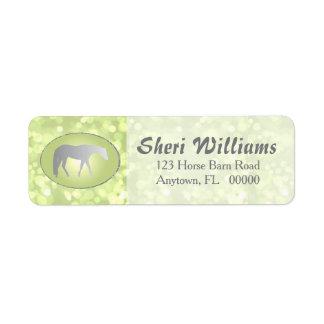 Silver Western Pleasure Horse on Green Brokeh Return Address Label