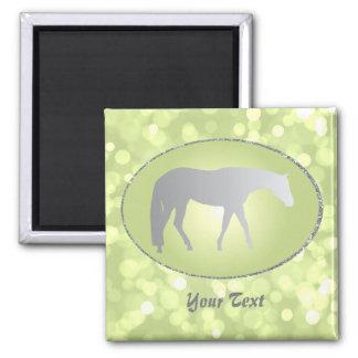 Silver Western Pleasure Horse on Green Brokeh Fridge Magnet