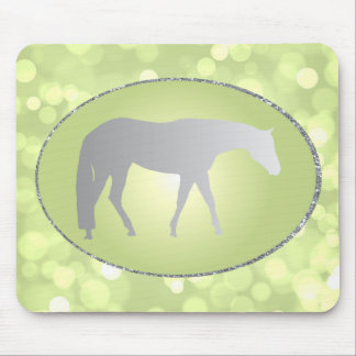 Silver Western Pleasure Horse on Green Brokeh Mouse Pad