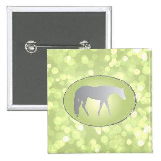 Silver Western Pleasure Horse on Green Brokeh Pinback Button