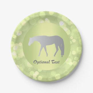 Silver Western Pleasure Horse on Green Brokeh 7 Inch Paper Plate