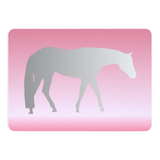 Silver Western Pleasure Horse on Pink Brokeh 5x7 Paper Invitation Card