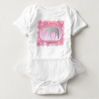 Silver Western Pleasure Horse on Pink Brokeh Baby Bodysuit