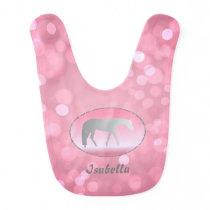 Silver Western Pleasure Horse on Pink Brokeh Bib