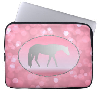 Silver Western Pleasure Horse on Pink Brokeh Computer Sleeve