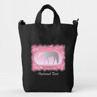 Silver Western Pleasure Horse on Pink Brokeh Duck Bag