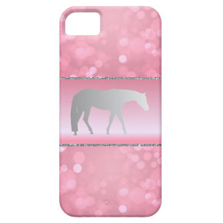 Silver Western Pleasure Horse on Pink Brokeh iPhone SE/5/5s Case