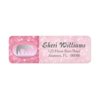 Silver Western Pleasure Horse on Pink Brokeh Label