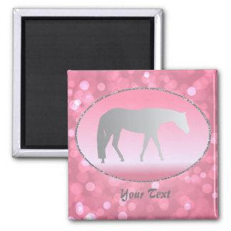 Silver Western Pleasure Horse on Pink Brokeh Magnet