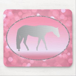 Silver Western Pleasure Horse on Pink Brokeh Mousepads
